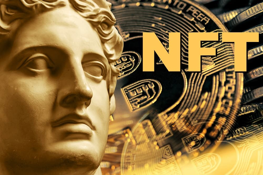 NFT Non fungible token.Cryptocurrency art concept.